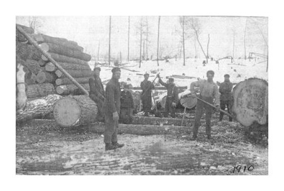 John Goodfellow and fellow workers piling logs